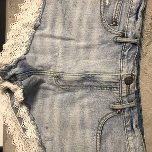 Free People Shorts - Free People lace denim shorts
